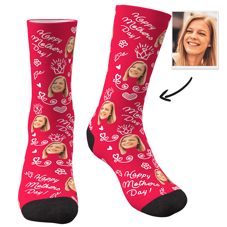 Socks with a woman's face on them