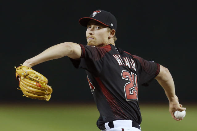 Arizona Diamondbacks starting pitcher Luke Weaver throws in the first inning during a baseball game against the Boston Red Sox, Saturday, April 6, 2019, in Phoenix. (AP Photo/Rick Scuteri)