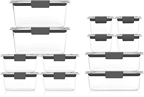 """<p><strong>Rubbermaid</strong></p><p>amazon.com</p><p><strong>$39.99</strong></p><p><a href=""""https://www.amazon.com/dp/B07X5Y11CB?tag=syn-yahoo-20&ascsubtag=%5Bartid%7C2141.g.37374115%5Bsrc%7Cyahoo-us"""" rel=""""nofollow noopener"""" target=""""_blank"""" data-ylk=""""slk:Shop Now"""" class=""""link rapid-noclick-resp"""">Shop Now</a></p><p>You can heat up leftovers or store your meal-prepped food for the week in Rubbermaid Brilliance glass containers. Since they're glass, you don't have to worry about warping, stains, or BPA, and they feature airtight snap-on lids for maximum freshness.</p>"""