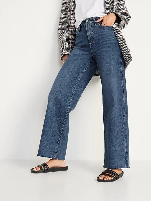 <p>Pair <span>Old Navy Extra High-Waisted Medium-Wash Cut-Off Wide-Leg Jeans</span> ($45) with sandals now and sneakers later. (And they look great with a blazer for work, too.)</p>