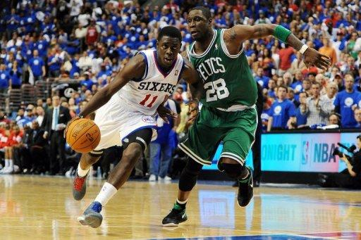 Philadelphia 76ers' Jrue Holiday (L) and Boston Celtics' Mickael Pietrus during game six of their NBA Eastern Conference playoff series on May 23. The 76ers kept their season alive with a 82-75 victory over the Celtics