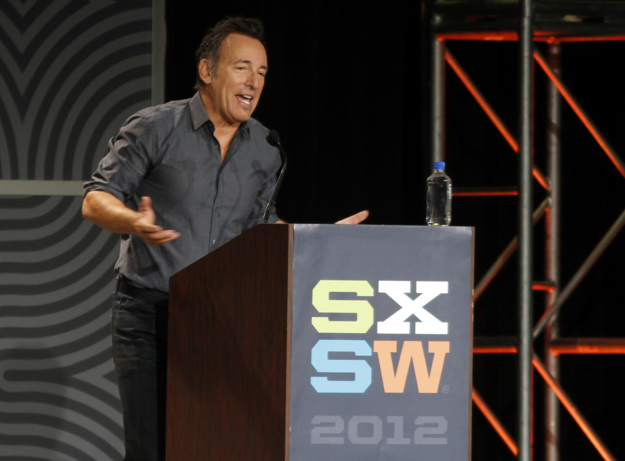 Musician Bruce Springsteen gives the keynote address at the SXSW Music Festival in Austin, Texas on Thursday, March 15, 2012. (AP Photo/Jack Plunkett)