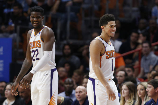 Will Deandre Ayton and Devin Booker ever anchor a contender together? (Michael Reaves/Getty Images)