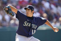 Seattle Mariners starting pitcher Yusei Kikuchi delivers in the second inning of a baseball game against the Cleveland Indians, Saturday, June 12, 2021, in Cleveland. (AP Photo/Tony Dejak)