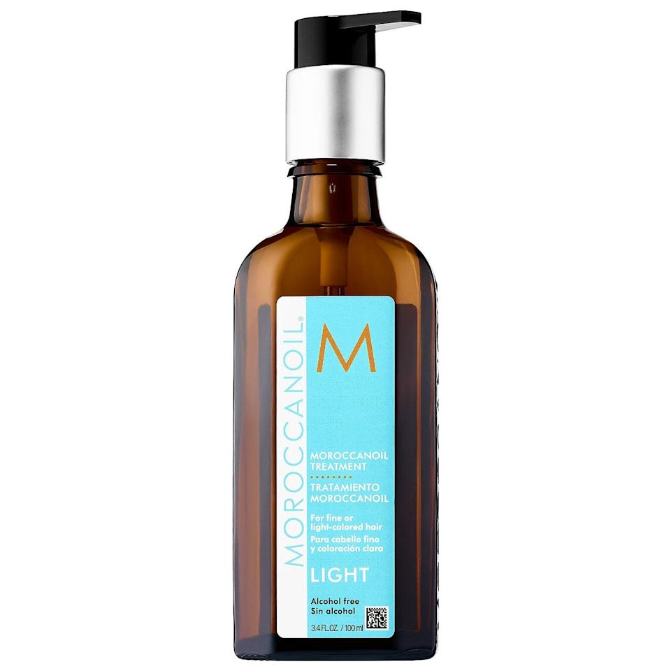 """<p>This frizz-fighting <a href=""""https://www.popsugar.com/buy/Moroccanoil-Treatment-Light-578808?p_name=Moroccanoil%20Treatment%20Light&retailer=sephora.com&pid=578808&price=15&evar1=bella%3Aus&evar9=47520410&evar98=https%3A%2F%2Fwww.popsugar.com%2Fbeauty%2Fphoto-gallery%2F47520410%2Fimage%2F47520417%2FMoroccanoil-Treatment-Light&list1=hair%2Csephora%2Cshampoo%2Cconditioner%2Cbeauty%20shopping%2Cstaying%20home&prop13=mobile&pdata=1"""" class=""""link rapid-noclick-resp"""" rel=""""nofollow noopener"""" target=""""_blank"""" data-ylk=""""slk:Moroccanoil Treatment Light"""">Moroccanoil Treatment Light</a> ($15-$44) is the lighter-weight version of <a href=""""https://www.popsugar.com/buy/iconic-formula-442592?p_name=their%20iconic%20formula&retailer=sephora.com&pid=442592&evar1=bella%3Aus&evar9=47520410&evar98=https%3A%2F%2Fwww.popsugar.com%2Fbeauty%2Fphoto-gallery%2F47520410%2Fimage%2F47520417%2FMoroccanoil-Treatment-Light&list1=hair%2Csephora%2Cshampoo%2Cconditioner%2Cbeauty%20shopping%2Cstaying%20home&prop13=mobile&pdata=1"""" class=""""link rapid-noclick-resp"""" rel=""""nofollow noopener"""" target=""""_blank"""" data-ylk=""""slk:their iconic formula"""">their iconic formula</a> - so it brings desirable softness, shine, and strength to finer hair textures without weighing styles down.</p>"""