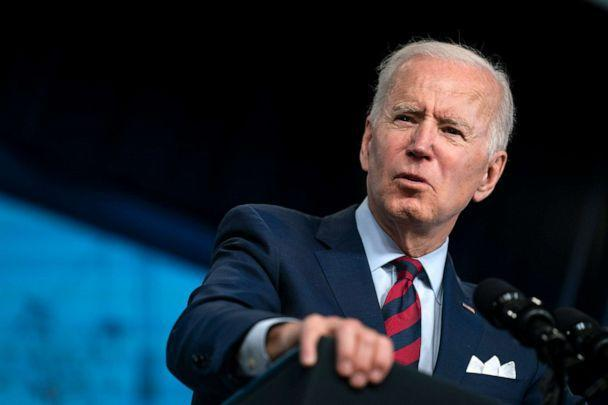 PHOTO: President Joe Biden speaks during an event in the South Court Auditorium on the White House campus in Washington, D.C., April 7, 2021. (Evan Vucci/AP)
