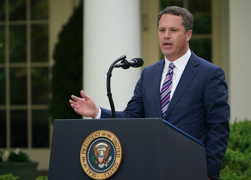 Walmart CEO, Doug McMillon speaks during a news conference with US President Donald Trump on the novel coronavirus, COVID-19, in the Rose Garden of the White House in Washington, DC on April 27, 2020. (Photo by MANDEL NGAN / AFP) (Photo by MANDEL NGAN/AFP via Getty Images)