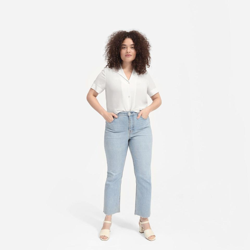 """<p><strong>everlane</strong></p><p>everlane.com</p><p><a href=""""https://go.redirectingat.com?id=74968X1596630&url=https%3A%2F%2Fwww.everlane.com%2Fproducts%2Fwomens-silk-notch-collar-ss-shirt-whitegrey&sref=https%3A%2F%2Fwww.womenshealthmag.com%2Fstyle%2Fg35904128%2Feverlane-spring-sale-restock-2021%2F"""" rel=""""nofollow noopener"""" target=""""_blank"""" data-ylk=""""slk:Shop Now"""" class=""""link rapid-noclick-resp"""">Shop Now</a></p><p><strong><del>$88</del> $<strong>62</strong> (29% off)</strong></p><p>Once the temperature rises, these silky soft shirts will be the hero(es) of your spring wardrobe.</p>"""