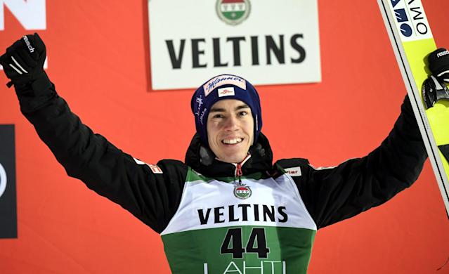 Lahti Ski Games - FIS Nordic World Cup - Men's Ski Jumping - Lahti, Finland - March 4, 2018. Stefan Kraft of Austria celebrates on the podium. LEHTIKUVA/Markku Ulander via REUTERS ATTENTION EDITORS - THIS IMAGE WAS PROVIDED BY A THIRD PARTY. NO THIRD PARTY SALES. NOT FOR USE BY REUTERS THIRD PARTY DISTRIBUTORS. FINLAND OUT. NO COMMERCIAL OR EDITORIAL SALES IN FINLAND.