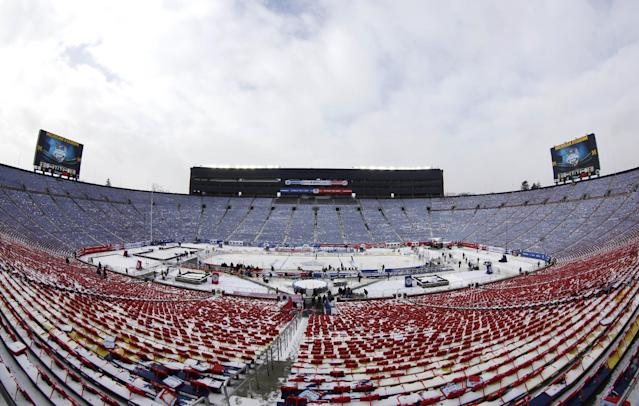 In this image taken with a fisheye lens, the hockey rink in Michigan Stadium is shown for the NHL Winter Classic outdoor hockey game between the Detroit Red Wings and Toronto Maple Leafs Tuesday, Dec. 31, 2013, in Ann Arbor, Mich. The game is scheduled for New Year's Day. (AP Photo/Paul Sancya)