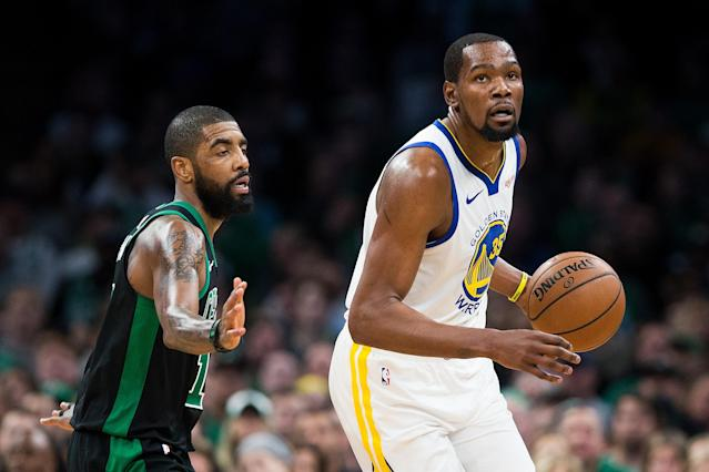 Neither Kevin Durant nor Kyrie Irving will be playing for the Knicks next season. (Photo by Adam Glanzman/Getty Images)