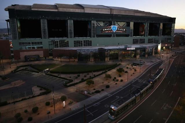 Chase Field, the home of Major League Baseball's Arizona Diamondbacks, would be among the stadiums in the Phoenix area used for the MLB season despite the coronavirus pandemic according to a plan reportedly being eyed by the league and its players union (AFP Photo/Christian Petersen)