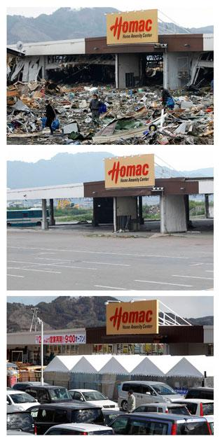 A combination photograph shows the same location in Otsuchi, Iwate Prefecture, northeastern Japan on three different dates, March 15, 2011 (top), August 13, 2011 (centre) and February 18, 2012 (bottom). The top photograph shows a shop destroyed by the magnitude 9.0 earthquake and tsunami, the middle photograph shows the area around the shop after it was cleared of debris, and the bottom photograph shows the shop trading again in the same location almost a year later. The shop had reopened December 22, 2011.   REUTERS/Aly Song (top), Kim Kyung-Hoon (centre) and Toru Hanai