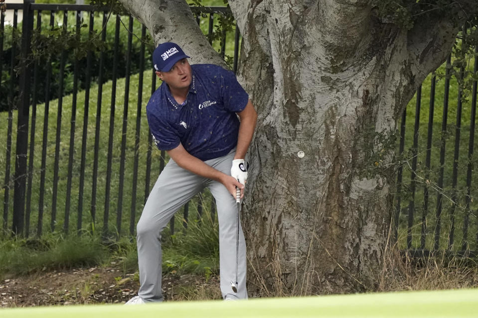 Jason Kokrak watches his shot from the rough on the 11th hole during the second round of the Zozo Championship golf tournament Friday, Oct. 23, 2020, in Thousand Oaks, Calif. (AP Photo/Marcio Jose Sanchez)