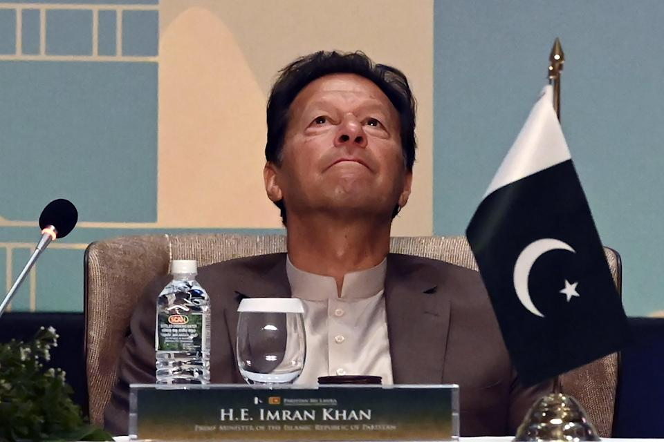 File photo: Pakistan's Prime Minister Imran Khan looks on during a Trade and Investments conference in Colombo on 24 February 2021 (AFP via Getty Images)