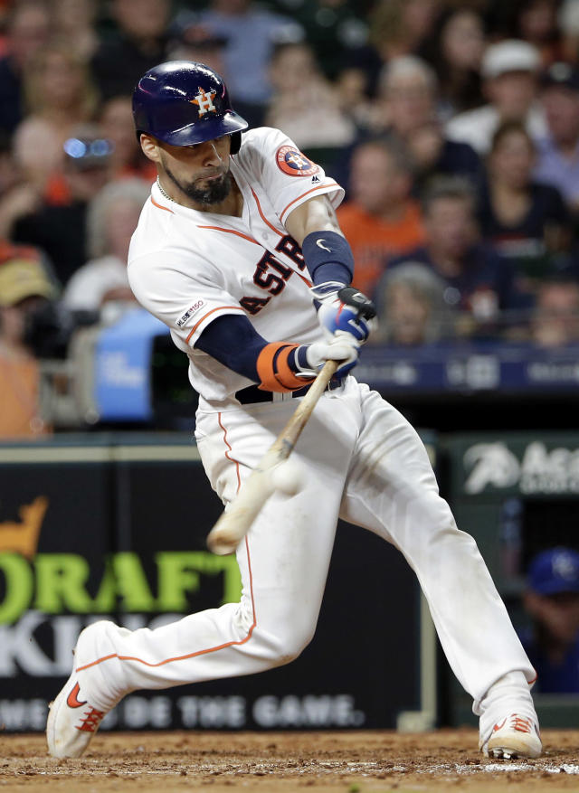 Houston Astros' Robinson Chirinos connects for a two-run home during the sixth inning of a baseball game against the Kansas City Royals, Monday, May 6, 2019, in Houston. (AP Photo/Michael Wyke)