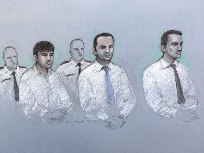 Court artist sketch by Elizabeth Cook of (left to right) Henry Long, 19, Albert Bowers, 18, and Jessie Cole, 18, published at the time of their conviction. (Photo: PA)
