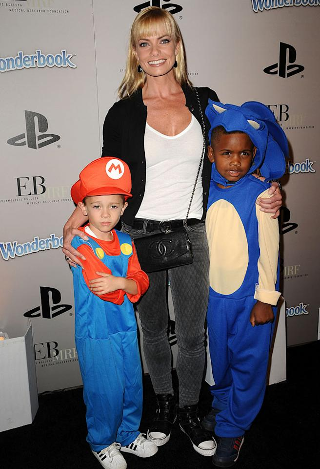 """Actress Jaime Pressly and her 5-year-old son, Dezi <span style=""""font-size:11.0pt;"""">–</span> who was dressed as the famous Mario from the video game Super Mario Brothers <span style=""""font-size:11.0pt;"""">–</span> posed with a pint-size pal at the EBMRF and PlayStation Epic Halloween Bash in Los Angeles over Halloween weekend. (10/27/2012)"""