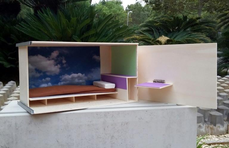 """This undated and unlocated handout photo released by Spanish company """"HAIBU Solutions"""" on September 6, 2018, shows a model of its housing """"capsules"""" project"""