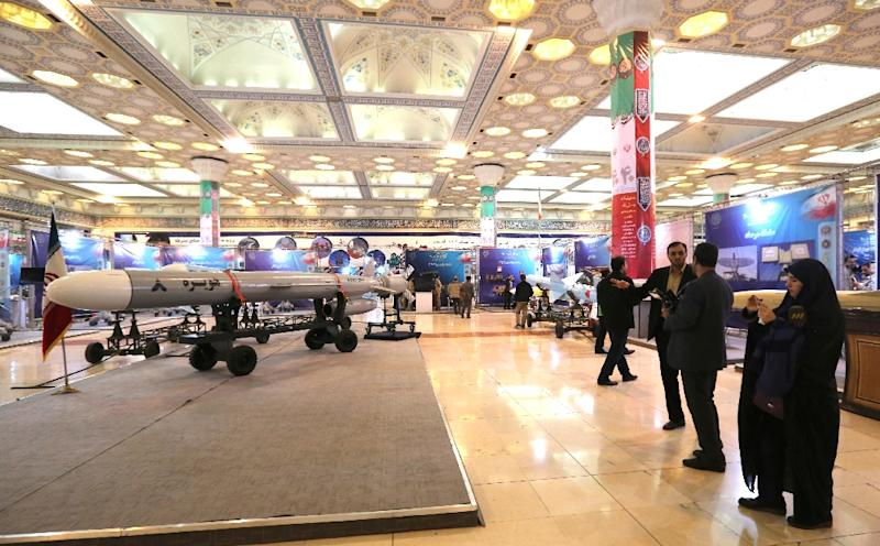Iran's new cruise missile, Hoveizeh, is shown at an exhibition in the capital Tehran (AFP Photo/ATTA KENARE)