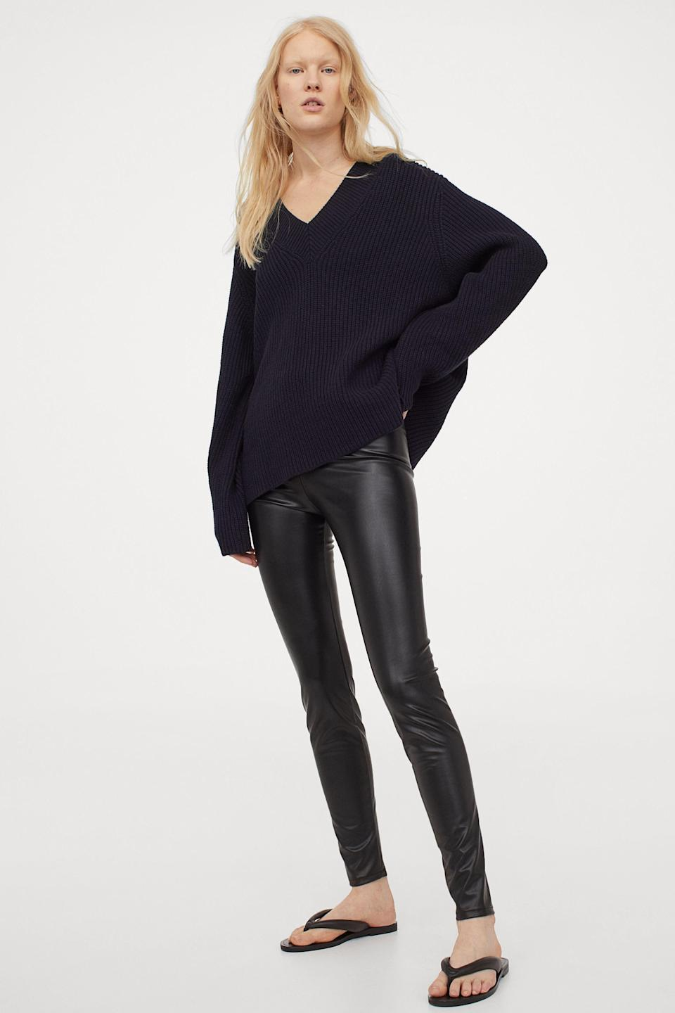 """<p><strong>H&M</strong></p><p>hm.com</p><p><strong>$24.99</strong></p><p><a href=""""https://go.redirectingat.com?id=74968X1596630&url=https%3A%2F%2Fwww2.hm.com%2Fen_us%2Fproductpage.0918892001.html&sref=https%3A%2F%2Fwww.marieclaire.com%2Ffashion%2Fg34437532%2Fbest-leather-leggings%2F"""" rel=""""nofollow noopener"""" target=""""_blank"""" data-ylk=""""slk:SHOP IT"""" class=""""link rapid-noclick-resp"""">SHOP IT</a></p><p>Leather leggings intrigue you, but you're not quite sure if you <em>love</em> them yet. Start off with a budget-friendly pair like this one from H&M and go from there.</p>"""