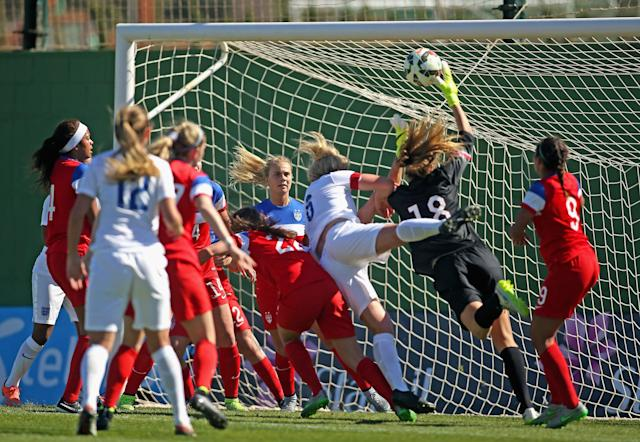 LA MANGA, SPAIN - MARCH 04: Casey Murphy (#18), goalkeeper of USA saves the ball against Millie Bright (#6) of England during the women's U23 international friendly match between USA U20 and England U23 on March 4, 2016 in La Manga, Spain. (Photo by Johannes Simon/Bongarts/Getty Images)