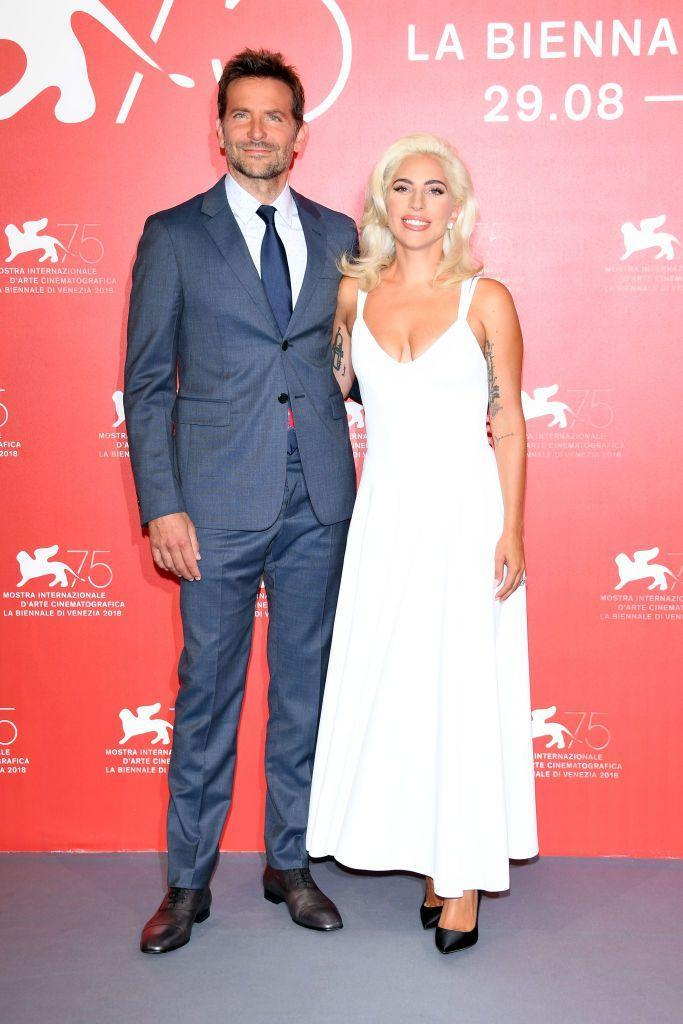 <p>At a photo call for <em>A Star Is Born.</em></p>
