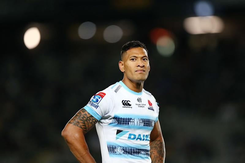 Israel Folau of the Waratahs looks on during the round 8 Super Rugby match between the Blues and Waratahs on April 06, 2019 in Auckland, New Zealand. (Photo by Anthony Au-Yeung/Getty Images)