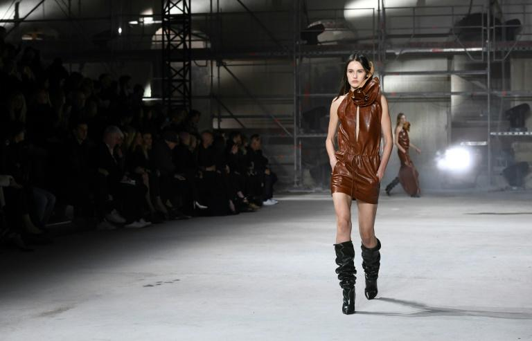 Anthony Vaccarello at Saint Laurent wrapped many of his models in rippling leather outfits