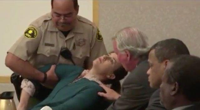 Moments later Lovejoy collapsed in her chair. Source: Fox5