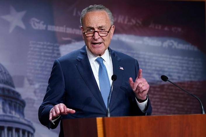 Senate Majority Leader Chuck Schumer speaks to reporters in the Capitol. (Copyright 2021 The Associated Press. All rights reserved)