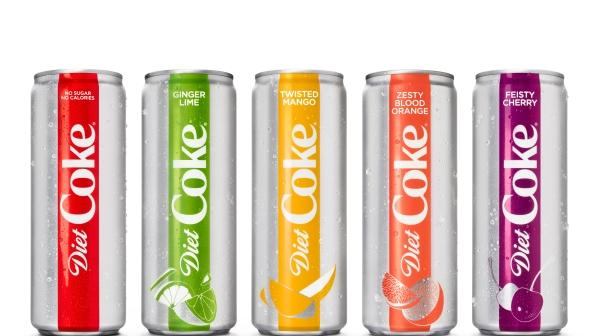 Flavored diet coke brand cans lined up next to each other.