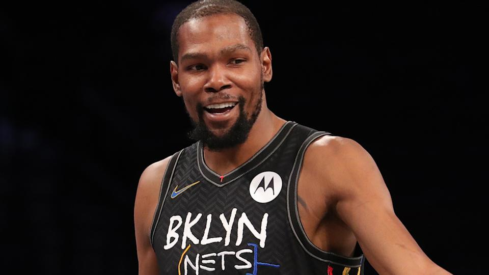 Brooklyn Nets star Kevin Durant left in the first quarter of their loss to Miami after an apparent leg injury. (Photo by Nathaniel S. Butler/NBAE via Getty Images)
