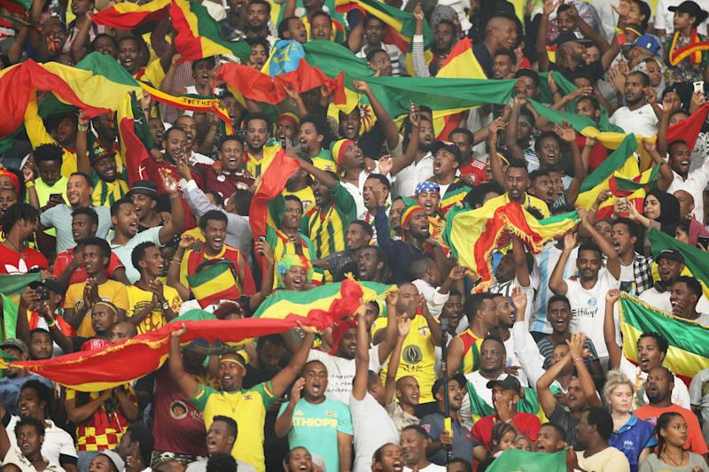 DOHA, QATAR - SEPTEMBER 30: Fans of Ethiopia cheer during the Men's 5000 metres final during day four of 17th IAAF World Athletics Championships Doha 2019 at Khalifa International Stadium on September 30, 2019 in Doha, Qatar. (Photo by Patrick Smith/Getty Images)