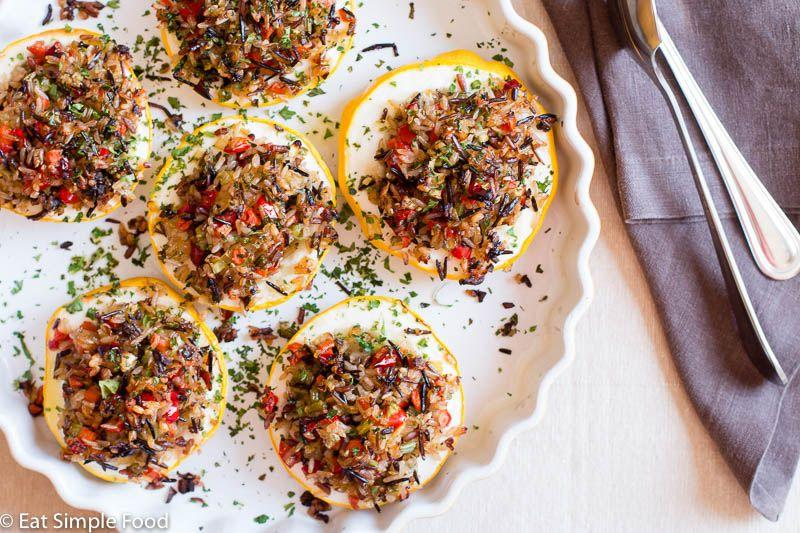 "<p>Stuff your patty pan squash with wild rice and an array of veggies for an easy vegetarian meal.</p><p><strong>Get the recipe at <a href=""https://eatsimplefood.com/veggie-stuffed-patty-pan-squash/"" target=""_blank"">Eat Simple Food</a>.</strong></p><p><a class=""body-btn-link"" href=""https://www.amazon.com/Pyrex-Deep-Baking-6-piece-BPA-free/dp/B07K14QNCC/?tag=syn-yahoo-20&ascsubtag=%5Bartid%7C10050.g.4691%5Bsrc%7Cyahoo-us"" target=""_blank"">SHOP GLASS BAKING DISHES</a></p>"