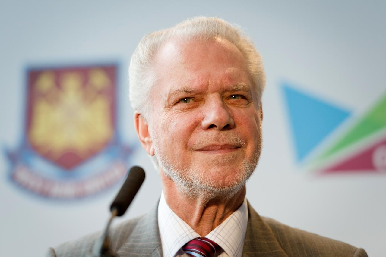 West Ham United Joint Chairman David Gold listens to a question during a press conference in east London to announce the new deal between Newham council and West Ham United football club on March 22, 2013. The stadium built for the London 2012 Olympic summer games has had its future secured in a deal where the English Premier League team West Ham United will have a 99 year lease to use the stadium starting in 2016.  AFP PHOTO/LEON NEALLEON NEAL/AFP/Getty Images