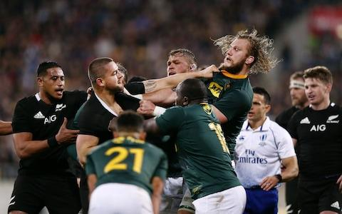 Dane Coles of the All Blacks gets in a scuffle with RG Snyman of the Springboks during the 2019 Rugby Championship Test Match between New Zealand and South Africa at Westpac Stadium on July 27, 2019 in Wellington, New Zealand - Credit: Getty Images