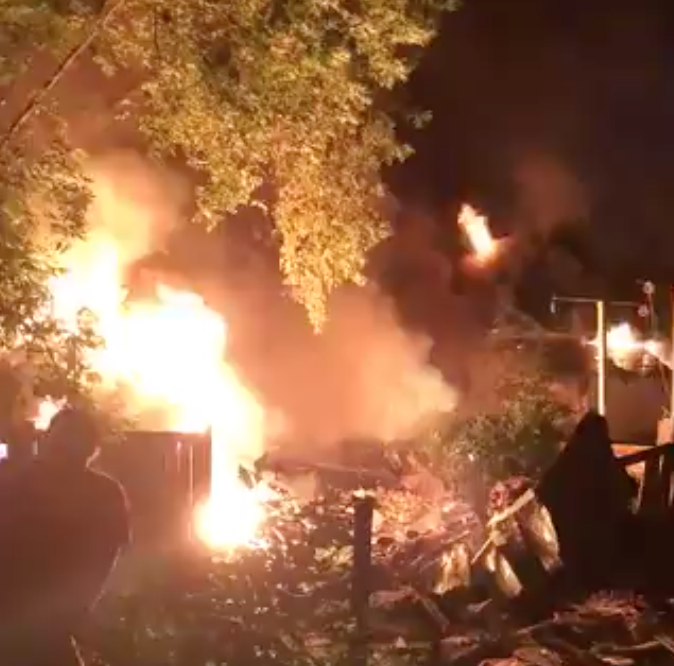 Seven houses were destroyed and seven people were sent to hospital in London, Ont., after a vehicle drove into a house in the city's east end, setting off an explosion and a large fire Wednesday night.