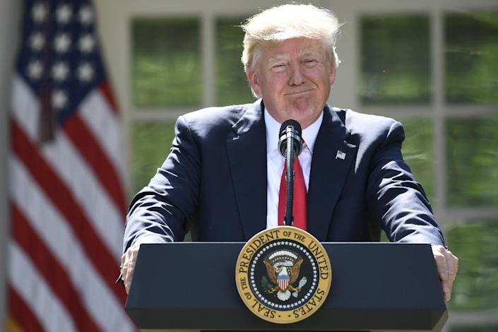 US President Donald Trump announced his decision to withdraw the US from the Paris Climate Accords in the Rose Garden of the White House on June 1, 2017 (AFP Photo/SAUL LOEB)