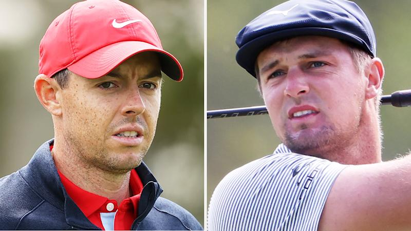 A 50-50 split image shows Rory McIlroy on the left and Bryson DeChambeau on the right.