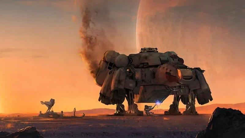 a space ship on a dusty planet at sunset - starfield
