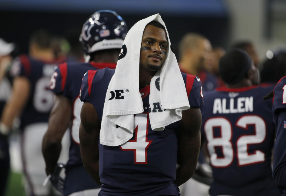 Two women who have filed civil suits against Deshaun Watson have come forward and identified themselves. (AP Photo/Michael Ainsworth)