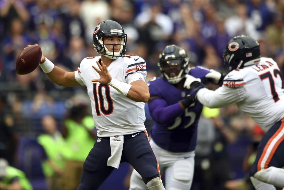Chicago Bears quarterback Mitchell Trubisky attempted just 16 passes against the Ravens, completing only eight. (AP)