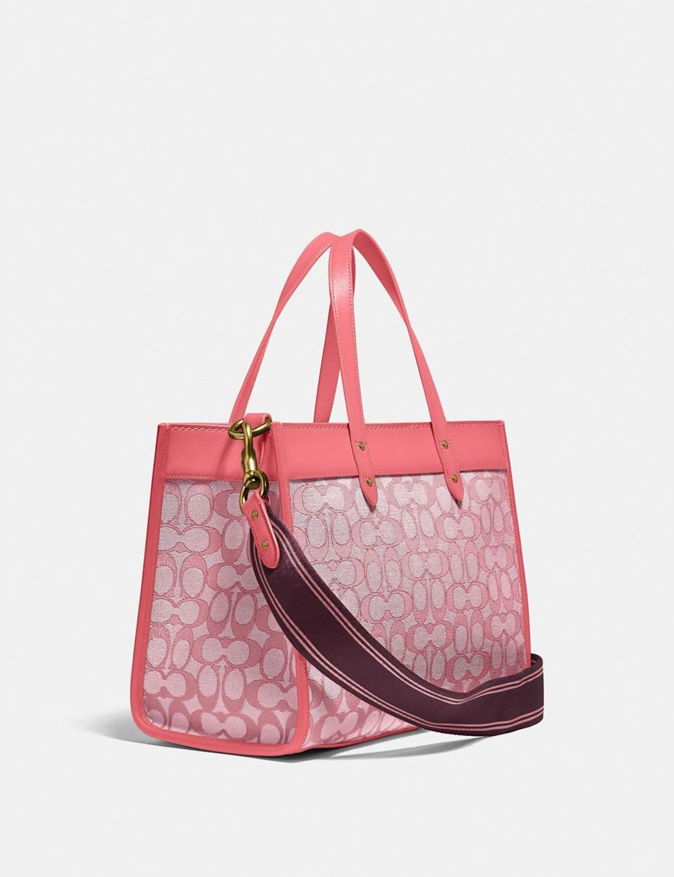 <p>If you love pink, then you need the <span>Coach Field Tote 30 in Signature Jacquard</span> ($395).</p>