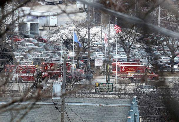 PHOTO: Emergency vehicles are parked near the entrance to Molson Coors headquarters in Milwaukee, Feb. 26, 2020. (Milwaukee Journal Sentinel/USA TODAY NETWORK via Reuters)