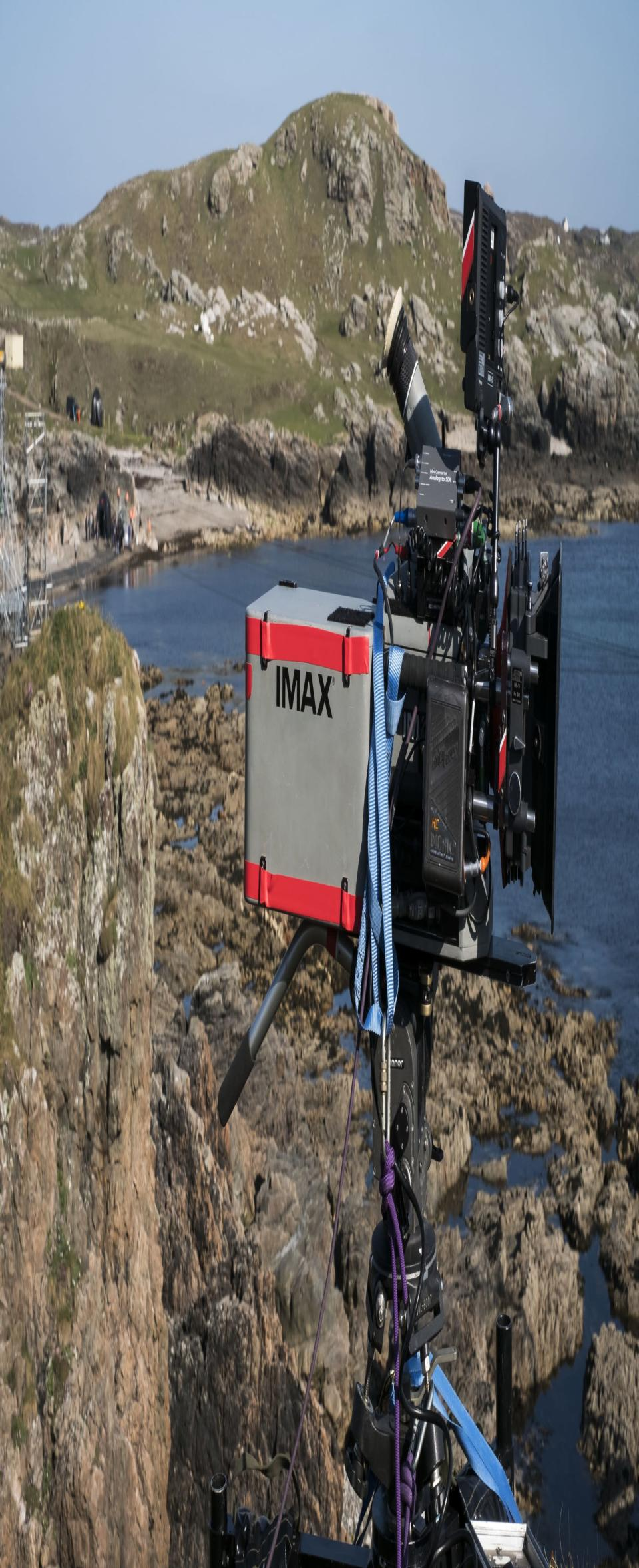 Imax camera on Skellig Michael during filming of <i>The Last Jedi.</i> (Photo: Lucasfilm/Imax)