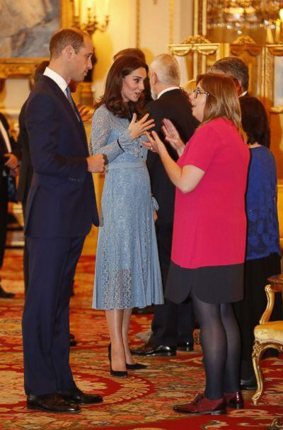 PHOTO: Britain's Prince William, Duke of Cambridge and Catherine, Duchess of Cambridge attend a reception at Buckingham Palace to celebrate World Mental Health Day in central London, Oct. 10, 2017. (Heathcliff O'Malley/AFP/Getty Images)