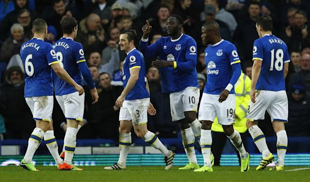 <p>Everton's Romelu Lukaku celebrates scoring their fourth goal with team mates </p>