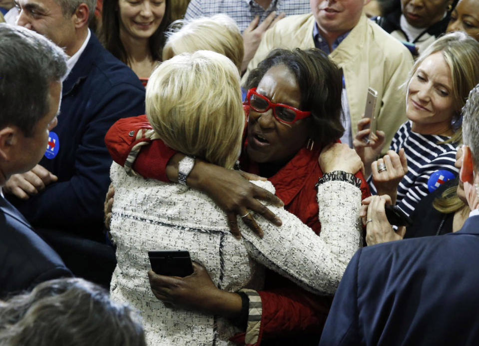 <p>Democratic U.S. presidential candidate Hillary Clinton hugs a supporter at a primary night party in Columbia, S.C., on Saturday. <i>(Photo: Jonathan Ernst/Reuters)</i></p>