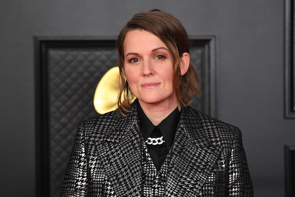 LOS ANGELES - MARCH 14: Brandi Carlile on the red carpet at THE 63rd ANNUAL GRAMMY® AWARDS, broadcast live from the STAPLES Center in Los Angeles, Sunday, March 14, 2021 (8:00-11:30 PM, live ET/5:00-8:30 PM, live PT) on the CBS Television Network and Paramount+. (Photo by Phil McCarten/CBS via Getty Images)